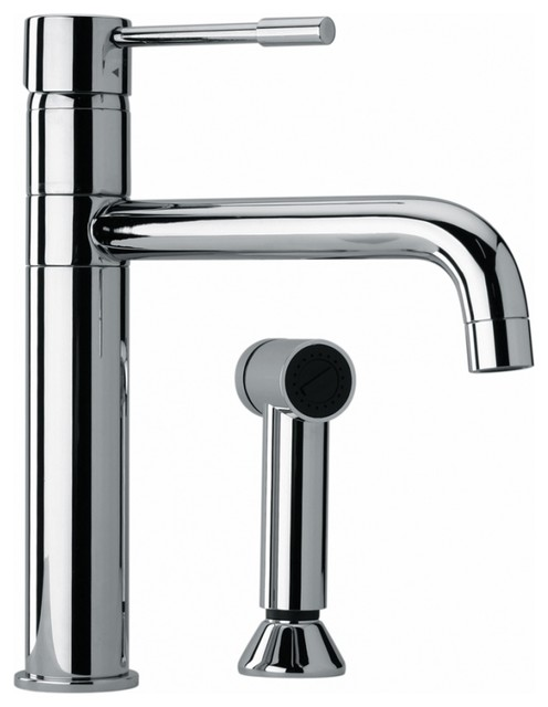 modern single hole single handle kitchen sink faucet with side sprayer chrome