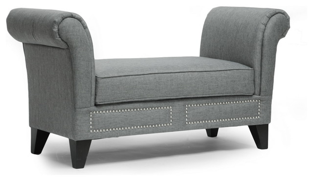 marsha modern scroll arm bench - transitional - indoor benches