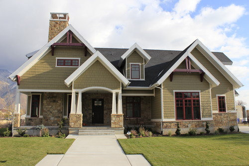 Craftsman style home exterior with cedar shake siding