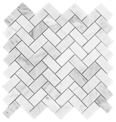carrara white marble honed herringbone mosaic tile sample