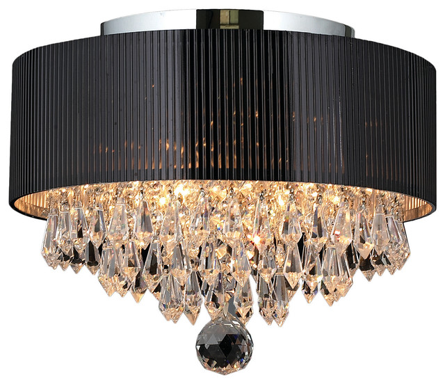 Gatsby 3 Light Crystal Flush Mount Ceiling With Black Drum Shade Chrome Contemporary