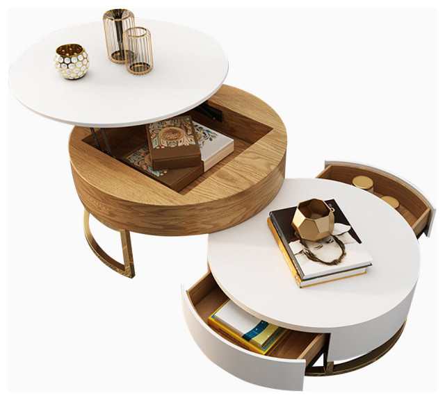 round coffee table with storage lift top wood coffee table with rotatable drawer