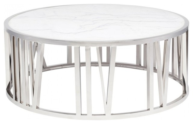 41 5 w roman numeral coffee table solid white marble polished stainless steel