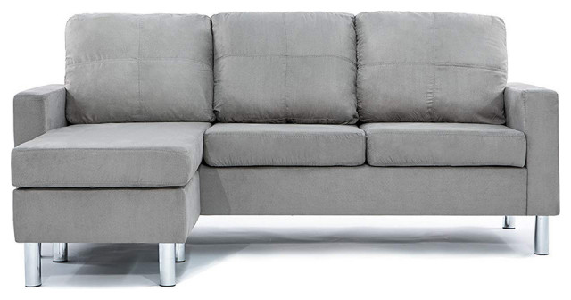 modern reversible small microfiber sectional