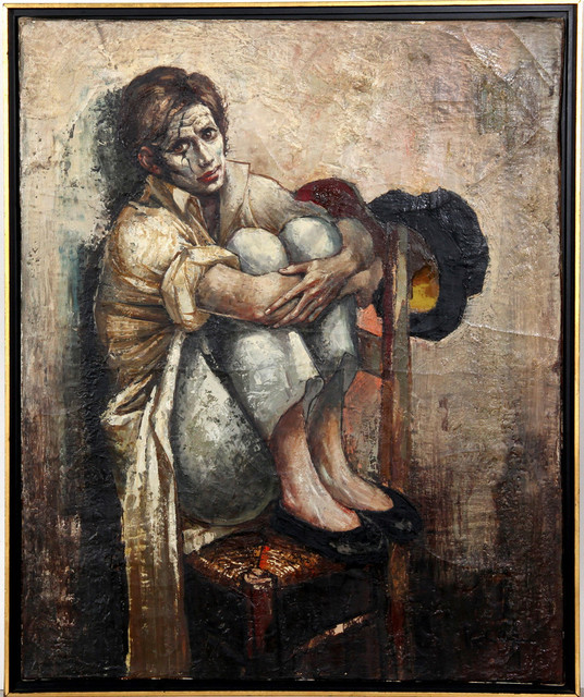 Bernard Locca  Sad Seated Clown  Oil Painting   Contemporary     Bernard Locca  Sad Seated Clown  Oil Painting