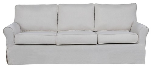 Classic Living Room Linen Fabric Sofa, Beige