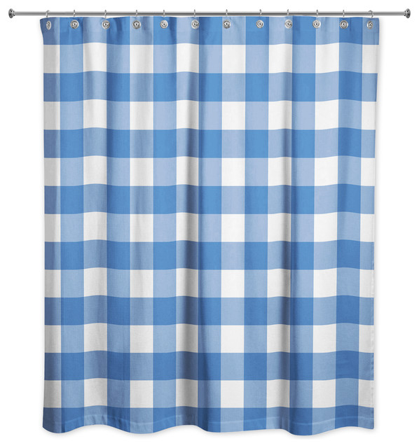 light blue buffalo check 71x74 shower curtain