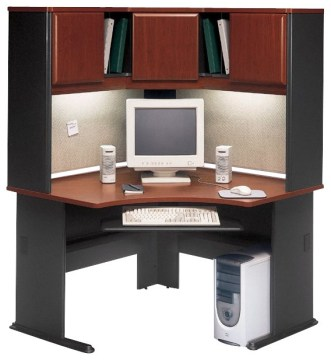 Bush Series A 48  Corner Computer Desk with Hutch in Hansen Cherry     Bush Series A 48  Corner Computer Desk with Hutch in Hansen Cherry