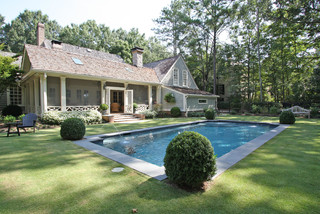 Screened porch and pool traditional-pool