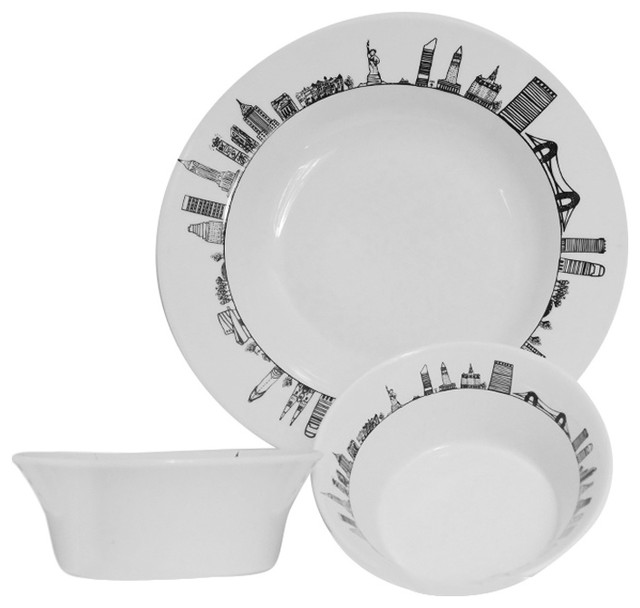 new york serving dish and 2 bowls contemporary dinnerware sets by assiettes et compagnie