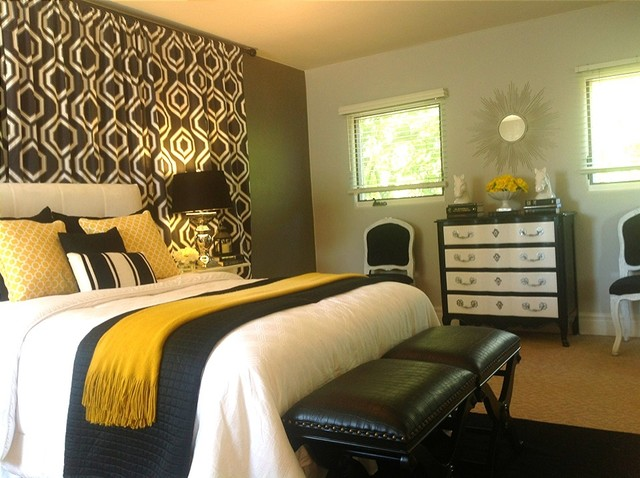 black, white, grey/grey and gold bedroom - contemporary - bedroom