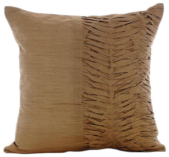 gold art silk 12 x12 textured pintucks throw pillows cover gold brown pleats