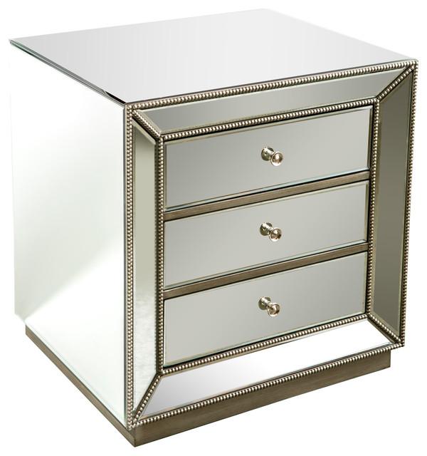 mie studded mirrored nightstand