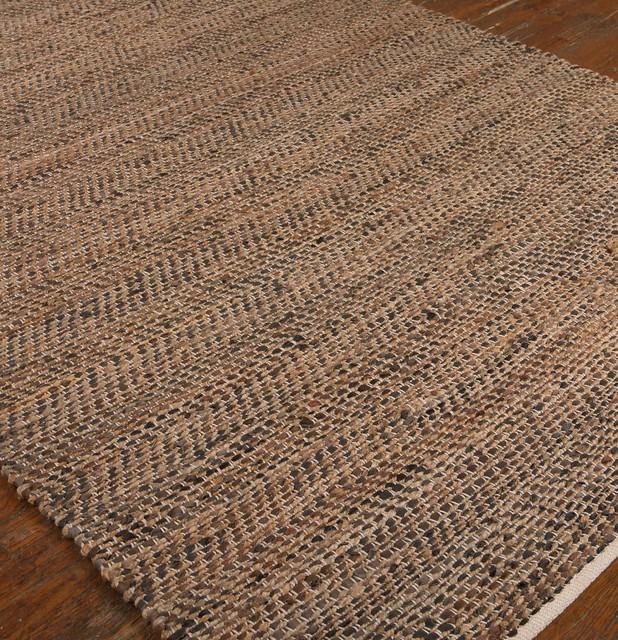 hand loomed recycled leather and hemp area rug 8x10 dark brown leather hemp