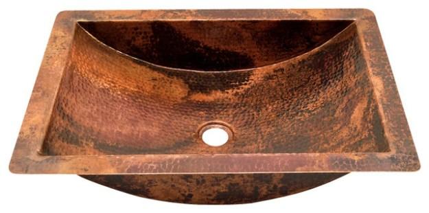 rectangular undermount bathroom copper sink - rustic - bathroom