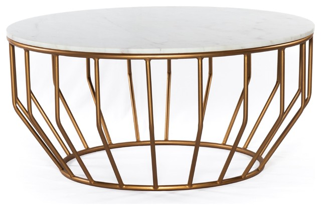 gold leaf round coffee table marble white