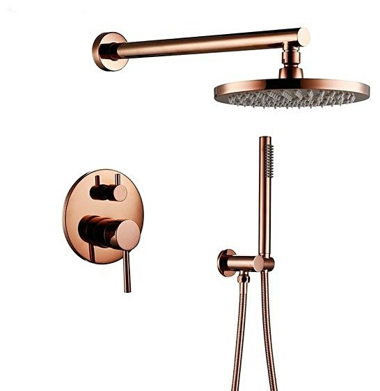 rose gold plated solid brass shower faucet set with handheld shower