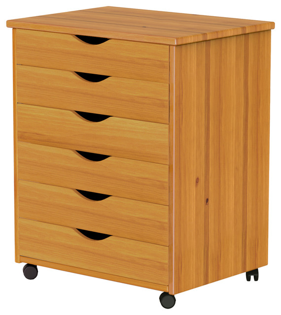 6 Drawer Wide Roll Cart Traditional Office Carts And