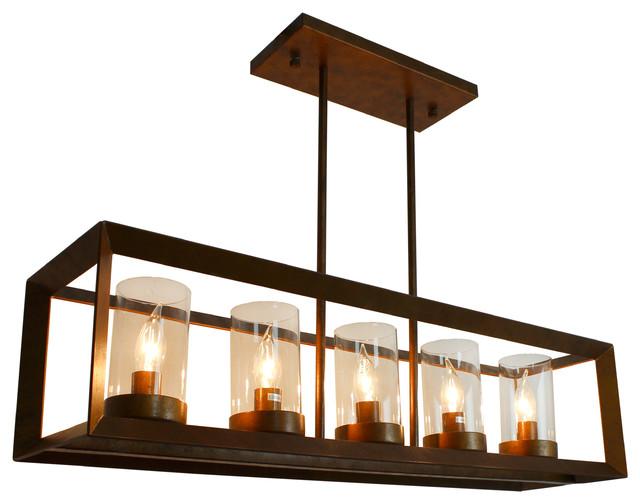Recessed Wood Beam 5 Light Kitchen Island Pendant