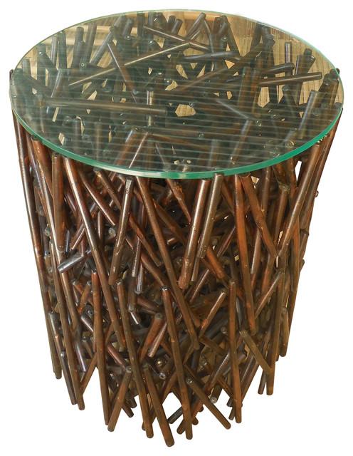 round maze bamboo table espresso color