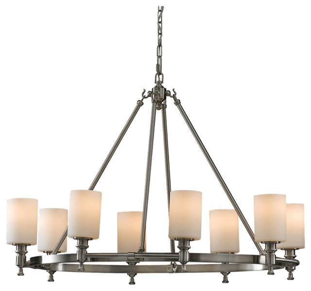 Murray Feiss F2497 8bs Sullivan 8 Bulb Brushed Steel Chandelier Transitional Chandeliers
