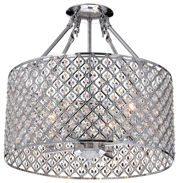 Mariella 4 Light Crystal Semi Flush Mount Chrome Contemporary