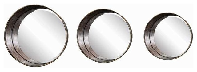 Distressed Gold Metal Framed Round Mirrors, Set Of 3
