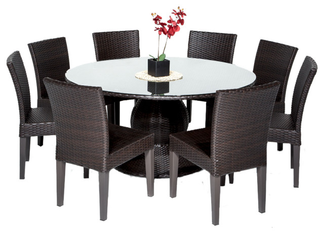 napa 60 outdoor patio dining table with 8 armless chairs