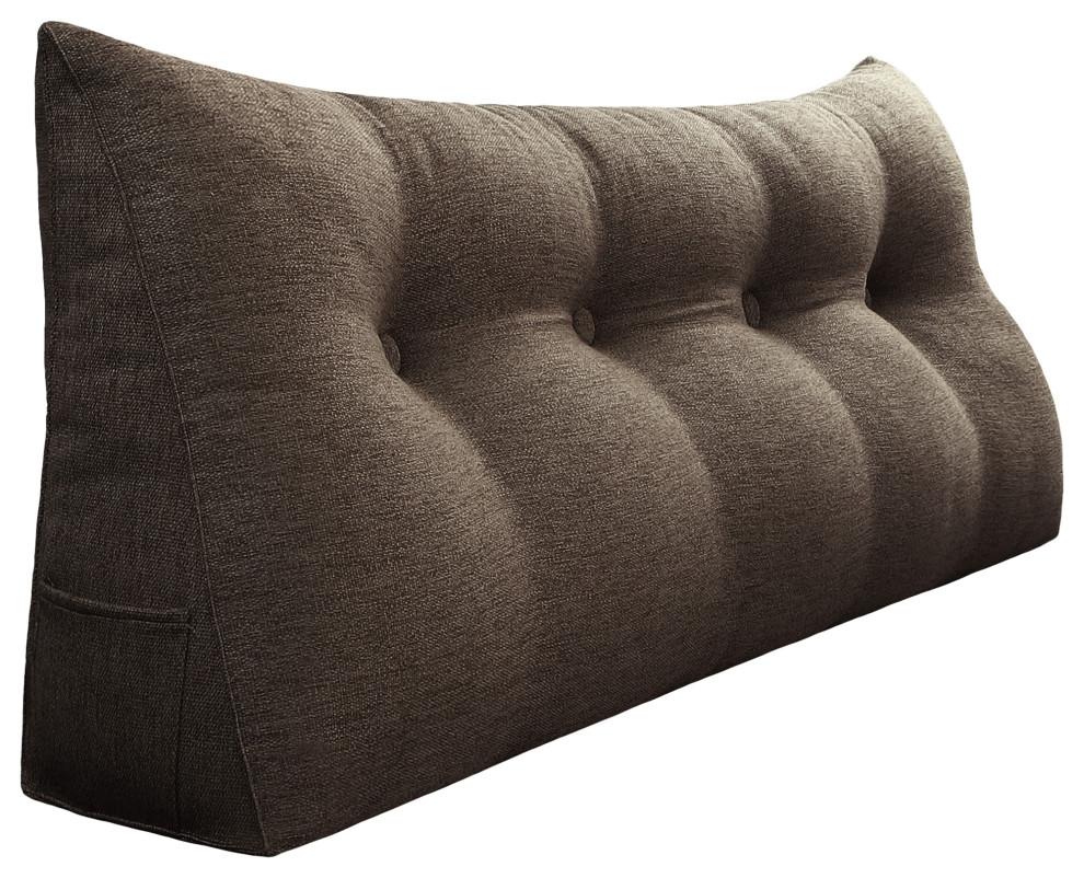 decorative bed wedge long lumbar pillow back support sofa pillow linen coffee