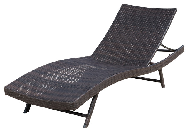 Eliana Outdoor Brown Wicker Chaise Lounge Chair Contemporary  Patio Chaise Lounge Chair