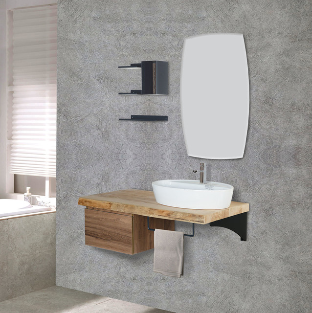 elce 48 modern solid barn wood single vessel sink wall mount bathroom vanity