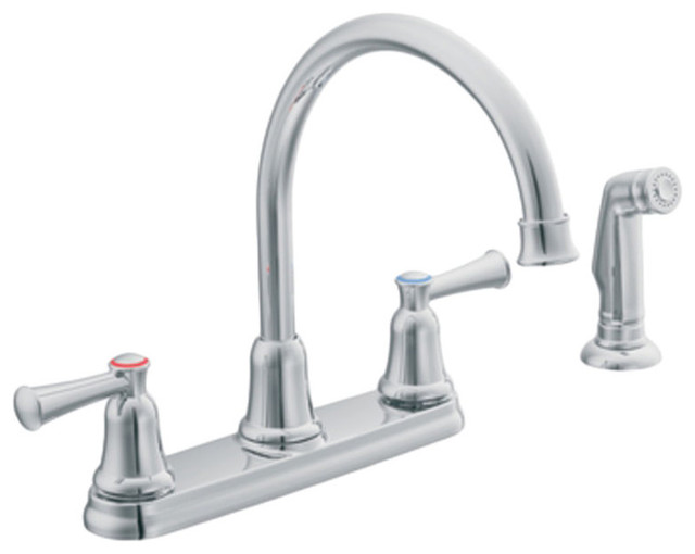 moen cfg ca41613 capstone 2 handle kitchen faucet with side spray chrome
