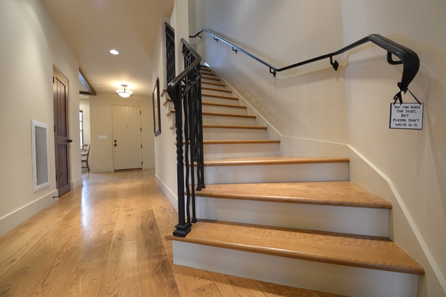 White Oak Hardwood Floor And Stairs Contemporary Entrance | Wood Floors And Stairs | Beautiful | Wood Plank | Oak | House | Wood Flooring