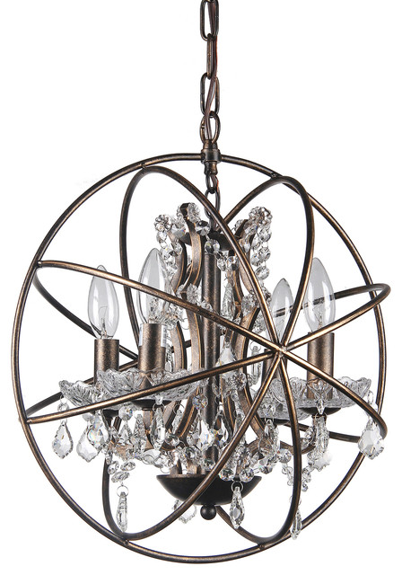 Cage Crystal Globe Chandelier Antique Bronze Contemporary Chandeliers