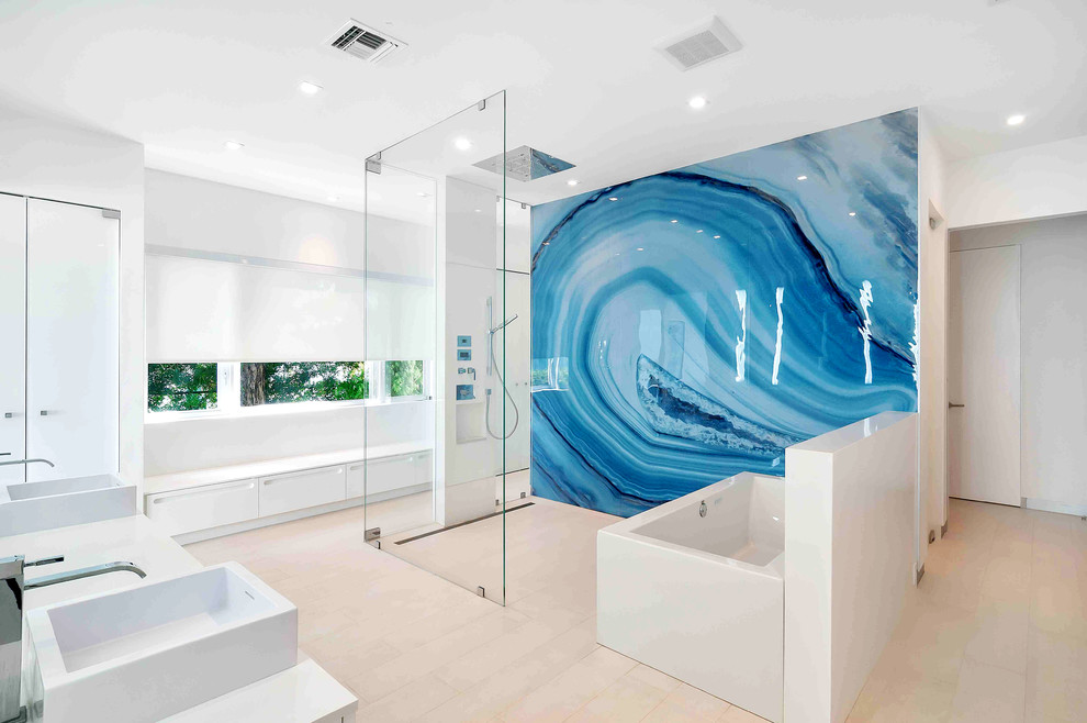 Wallpaper Murals Home Wall Decor Interiors Modern Bathroom Design Stone Tub  And Sink