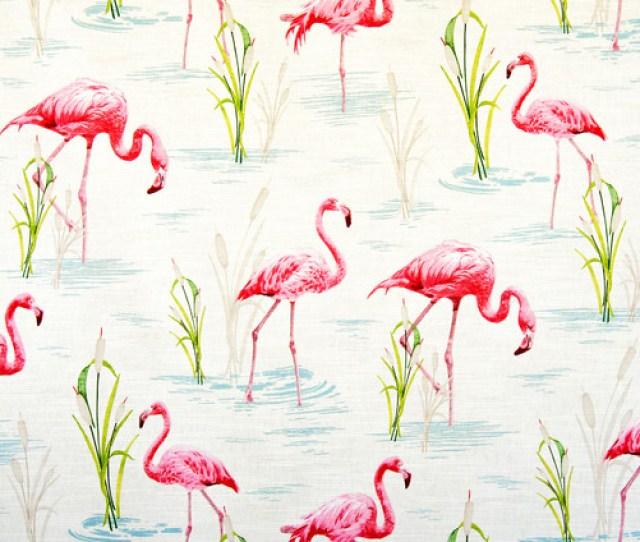 Flamingo Fabric Retro Tropical Pink Toile