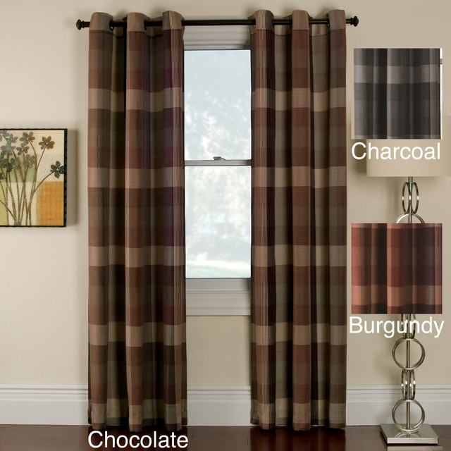 Otis Plaid Grommet Top 84 Inch Panel Pair Traditional Curtains By