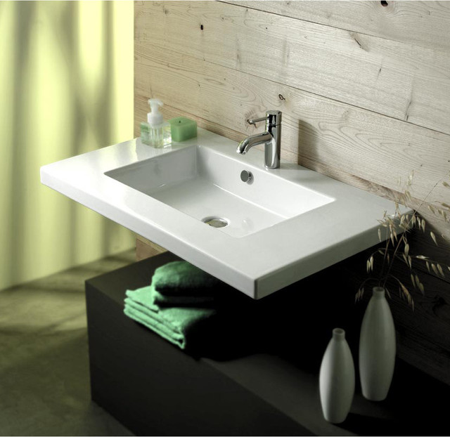 Wide Rectangular Ceramic Wall Mounted Above Counter Or Drop In Sink Contemporary Bathroom