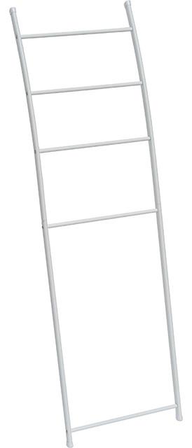 free standing bath towel ladder wall leaning drying rack 4 bars metal white