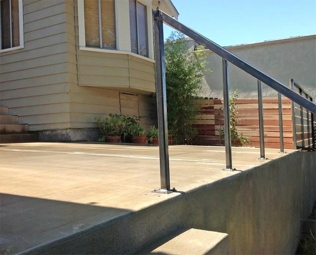 Concrete Patio Steps Wall Metal Railing Redwood Fence | Railing For Concrete Porch | Residential | Paver Patio | Hand | Flagstone Porch | Repair