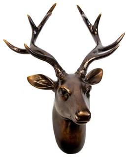 "Sagebrook Home 7"" Deer Head Wall Decor, Copper"