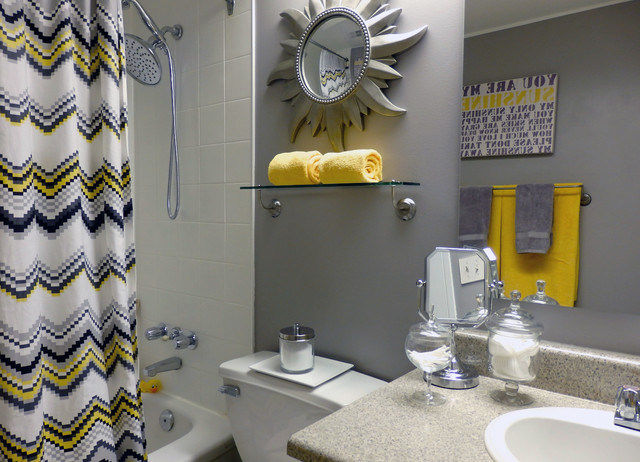grey and yellow bathroom - contemporary - toronto - by dominika