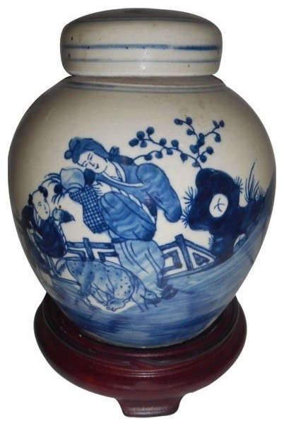 The Family Decorates Ginger Jar Porcelain Ceramic Vase For Chinese Temple Blue White China