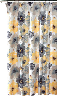 Leah Shower Curtain Yellow and Gray