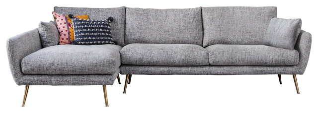 harlow mid century modern sectional sofa left facing chaise