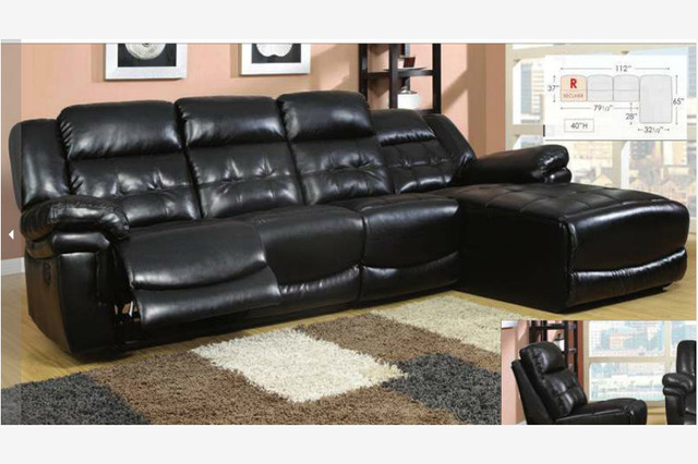 Leather Reclining Sectional Chaise Lounge
