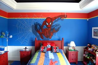 Spiderman Superhero Murals in a boys bedroom. Hand painted by Tom Taylor of Mura eclectic-bedroom