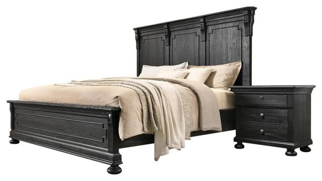 xavier 5 piece bedroom set distressed black queen
