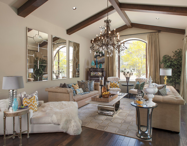 Spanish Colonial Glam Transitional Living Room