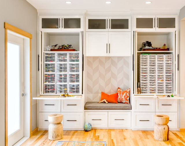 From Wasted Space to Ultimate Family Friendly Living Room transitional-kids